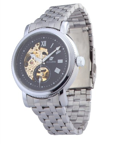 Ouyawei Men'S Round Black Dial Stainless Steal Strap Mechanical Watches