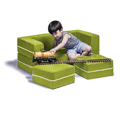 Jaxx Zipline Kids Modular Loveseat & Ottomans / Fold Out Lounger, Lime (Jaxx Modular compare prices)