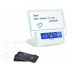 ZHPUAT Multifunctional Morning Clock, Message Board, 2 Ports Charger, Smart Voice, Light Up, Alarm, Snooze, DC and Batteries Dual Power. Color White + Blue Light
