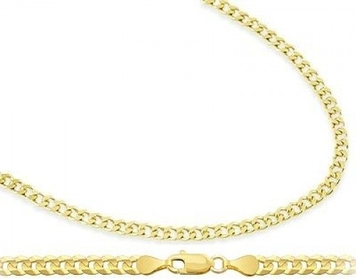 10K Yellow Gold Cuban Chain Curb Necklace Link Solid 2.4Mm , 18 Inch