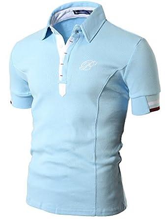 Doublju Mens Polo T-shirts with Short Sleeve SKY (US-XS)