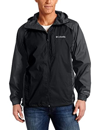 Columbia Men's Straight Line Rain Jacket, Black/Grill, Medium