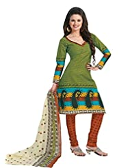 EQ Women Pure Cotton Green Color Salwar Suit.