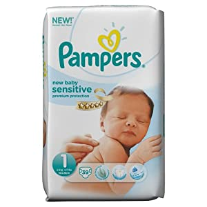 Pampers New Baby Sensitive 1 (Newborn) - Pack of 39