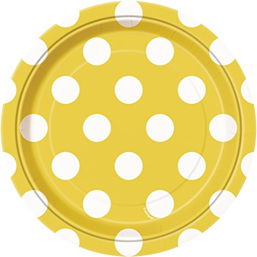 Yellow Polka Dot Dessert Plates, 8ct
