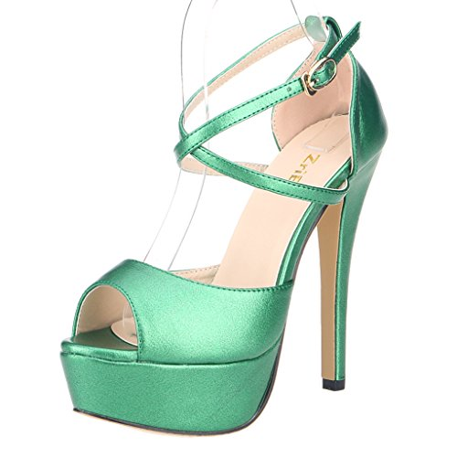ZriEy Womens Peep Toe Strappy Platform Stiletto Ladies High Heel Sandal Shoes Grass Green size 9.5