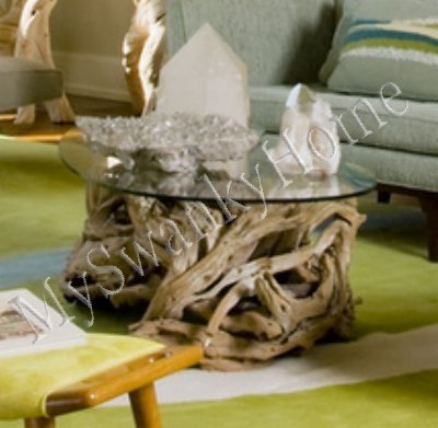 "Details for Luxe Designer DRIFTWOOD Cocktail COFFEE TABLE Beach 36"" Branch Teak Island Round by Intelligent Design"