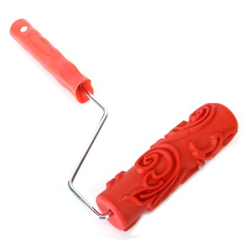 "TOOGOO(R) 7"" DIY Floral-and-Dot Pattern Paint Roller for Wall Decoration w/ Handle"
