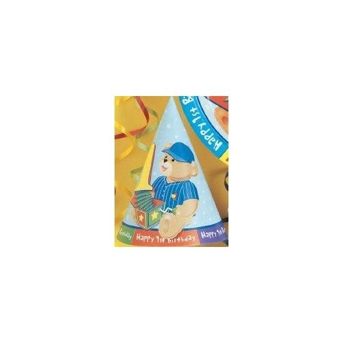 Boy's First Birthday Party Hats - 8 Count