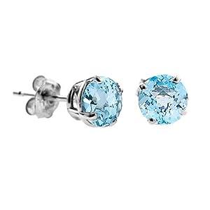 2 CT Blue Topaz Stud Earrings 14k White Gold (I1-I2 Clarity)