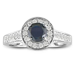1ct Micropave Black Diamond Engagement Ring in 14k White Gold, Ring Size 4 With Free Blitz Jewelry Cleaner