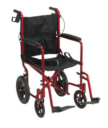 Drive Medical EXP19LTrd Lightweight Expedition Transport Wheelchair Blue with Hand Brakes, Red, Size 19