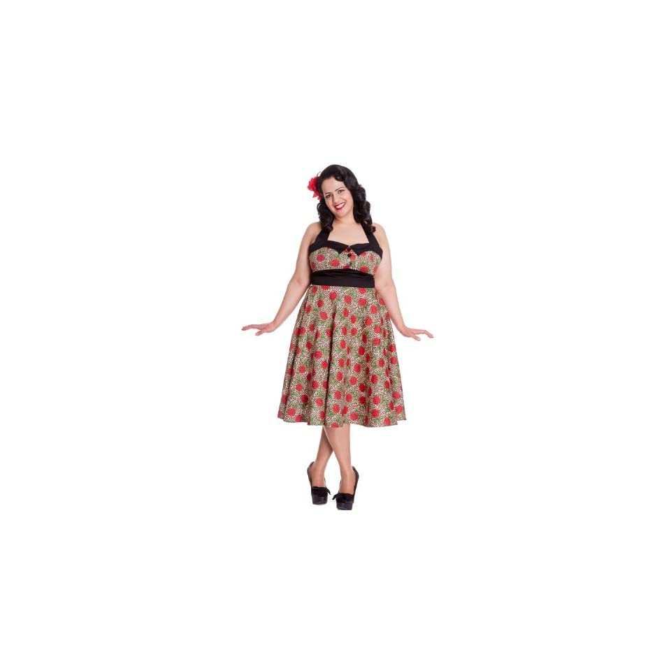 1a0f3d61ac Hell Bunny Plus Size Rockabilly Charlie Dress in Leopard and Red Rose Print  Party Dress (XX Large)