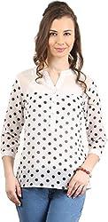 Amadeo Women's 3/4 th Sleeve Top (KRISHA08, White, Large)