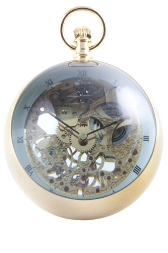 Catorex Men's 180.6.1839.000 La Pautele 18k Plated Brass Skeletal Globe Pocket Watch