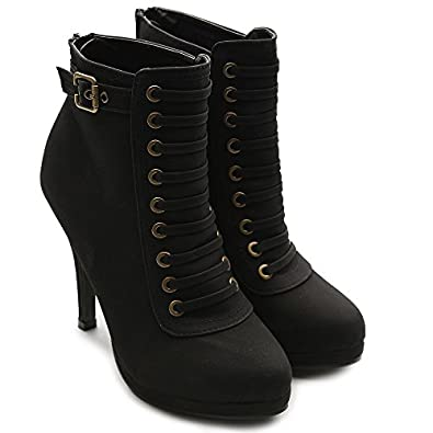 Ollio Women's Faux Suede Lace Up Platforms High Heel Black Fashion Ankle Boots