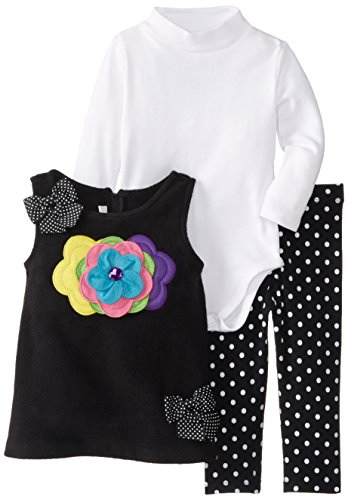 Bonnie Baby-Girls Infant Black Flower Appliqued Fleece Legging Set, Black, 24 Months front-978358