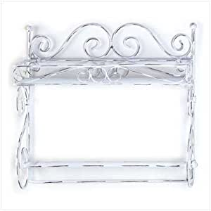 distressed white metal towel rack shelf. Black Bedroom Furniture Sets. Home Design Ideas