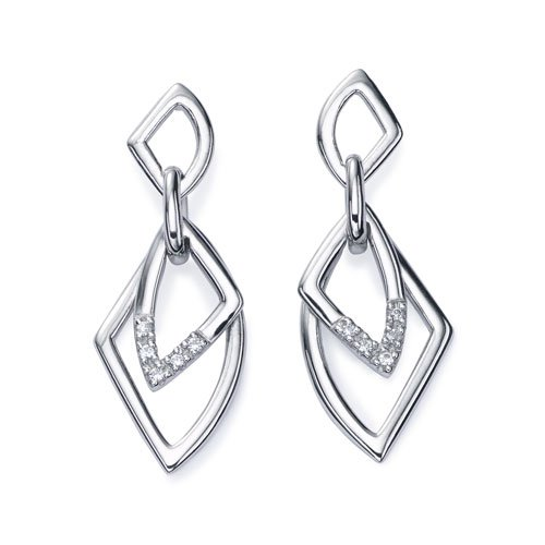 Ze Sterling Silver Diamond Accent Dangle Earrings.