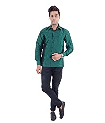 Warrior Art Silk Dark Green Shirt