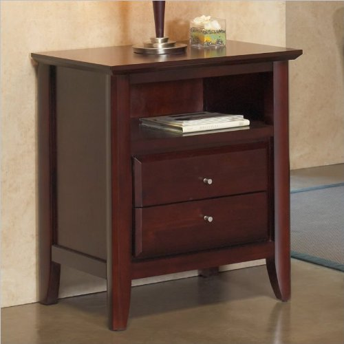 Modus Furniture International City Ii Charging Station 2-Drawer Nightstand, Coco
