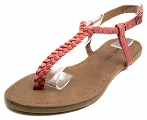 Orly Shoes Women's Skinny Faux Suede Basic T Strap Sandal Flat Braided with Adjustable Ankle in Coral Size: 7