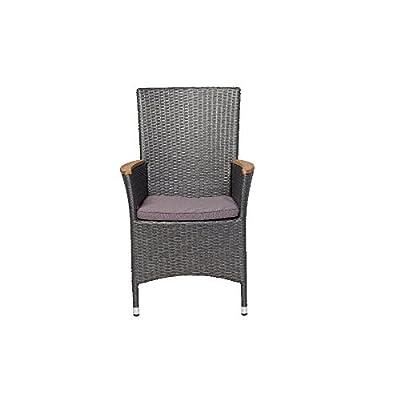 Siena Garden 274427 Sessel Luzern Aluminium-Gestell Gardino®-Geflecht titan inkl. Kissen grau, Armlehnen Teak von Siena Garden - Gartenmöbel von Du und Dein Garten