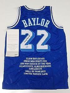 Autographed Elgin Baylor Jersey - Throwback Stat Coa - Upper Deck Certified -... by Sports+Memorabilia