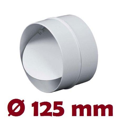MKK-SHOP Verbindungsstück mit Rückstauklappe Verbinder Lüftungsrohr Rundkanal Rohr Ø 125 mm Lüftungsanlage Kanal K0125 22