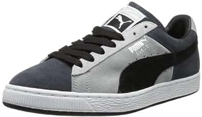 PUMA Men's Suede Stripes and Blocks Classic Sneaker,Dark Shadow/Black,4 M US