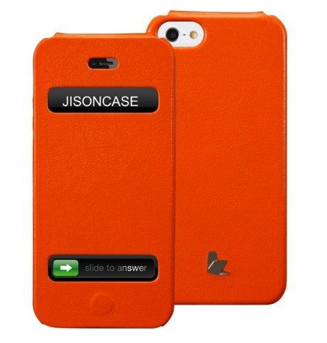 Best Price Jisoncase Executive Genuine Leather Flip Case for iPhone 5, JS-IP5-002B-Orange