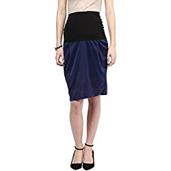 MamaCouture Navy Blue Polyester Skirt for Women