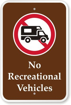 """No Recreational Vehicles (With Graphic) Sign, 18"""" X 12"""" front-872752"""