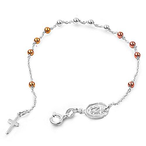 925 Sterling Silver Rosary Bracelet - 3mm - 7.5