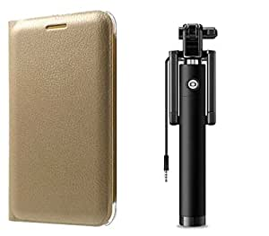 Novo Style Samsung Galaxy On5 Premium PU Leather Quality Golden Flip Cover + Wired Selfie Stick No Battery Charging Premium Sturdy Design Best Pocket Sized Selfie Stick