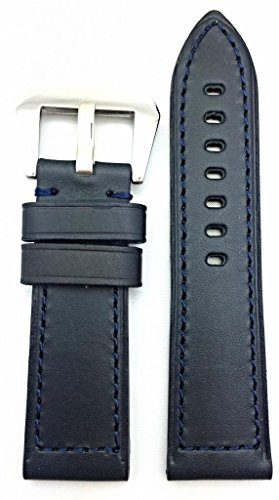 26Mm Dark Blue, Panerai Style, Smooth Leather Watch Band