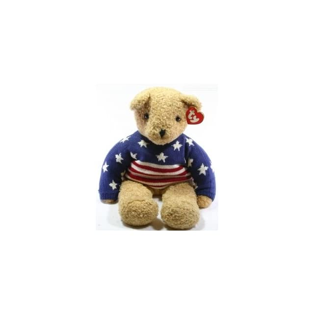 Rare Curly Large 24 Inch Teddy Bear   Ty Classic Plush Collection With Patriotic Sweater   Stars & Stripes