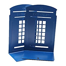ZoroPlan Cute Book Nonstick Bookends Retro British Style Telephone Booth Bookend Bookends, 1 Pair (Blue)