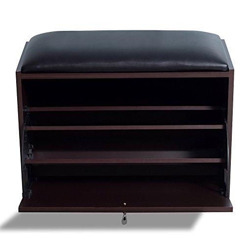 Gls Brown Modern Shoe Bench Storage Ottoman With Pu