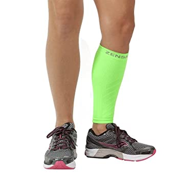 Zensah Calf/Shin Splint Compression Sleeve (singe sleeve), Neon Green, Large/X-Large