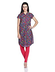 Biba Women's Cotton Straight Kurta (Phulkari # 9720_Purple_32)