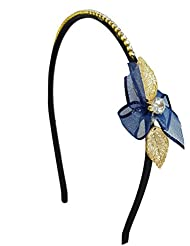 Ammvi Creations Special Diva CZ Solitaire Golden And Blue Petals CZ Embellished Hair Band For Women