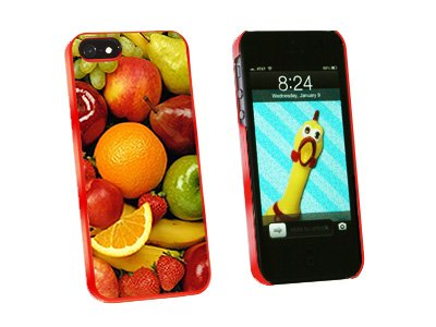 Fruit Bowl - Grapes Apples Strawberries Oranges - Snap On Hard Protective Case for Apple iPhone 5 5S - Red