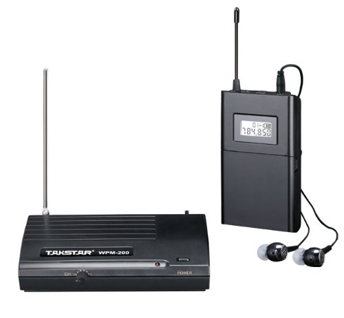 Takstar Wpm-200 Lcd 6 Selectable Channels Anti-Jamming Uhf Stereo 50M Transmission Distance In Ear Professional Stage Wireless Monitor System