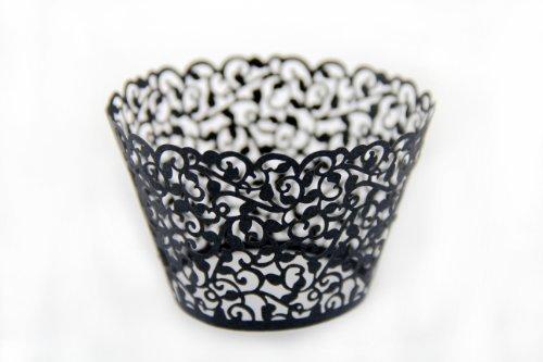Láser cortar envolturas de la magdalena envuelve decoración casos torta vid (12, Black)