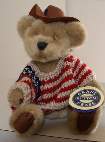"Brass Button Bears: Cody 11"" w/ striped shirt brown hat"