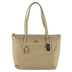 Coach Nylon Zip Top Tote Shoulder Bag 35500 Putty