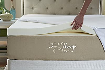 Nature's Sleep Cool IQ 2.5 Inch Thick, 3.5 Pound Density Visco Elastic Memory Foam Mattress Topper with Microfiber Fitted Cover and 18 Inch Skirt by Natures Sleep