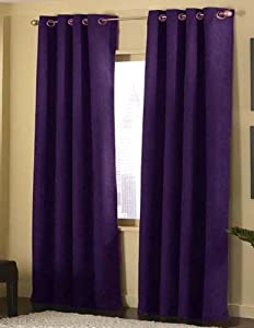 4pcs Grommet Top Solid Purple Micro Suede Window Curtain Panel Set with White Privacy Lining