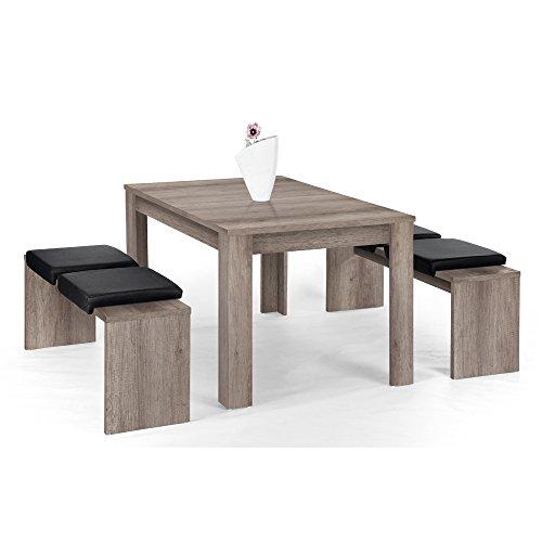 Lbeck-Bank-Set-Eiche-sgerau-mit-1-Tisch-140-x-90-cm-und-2-Bnken--130-x-37-cm